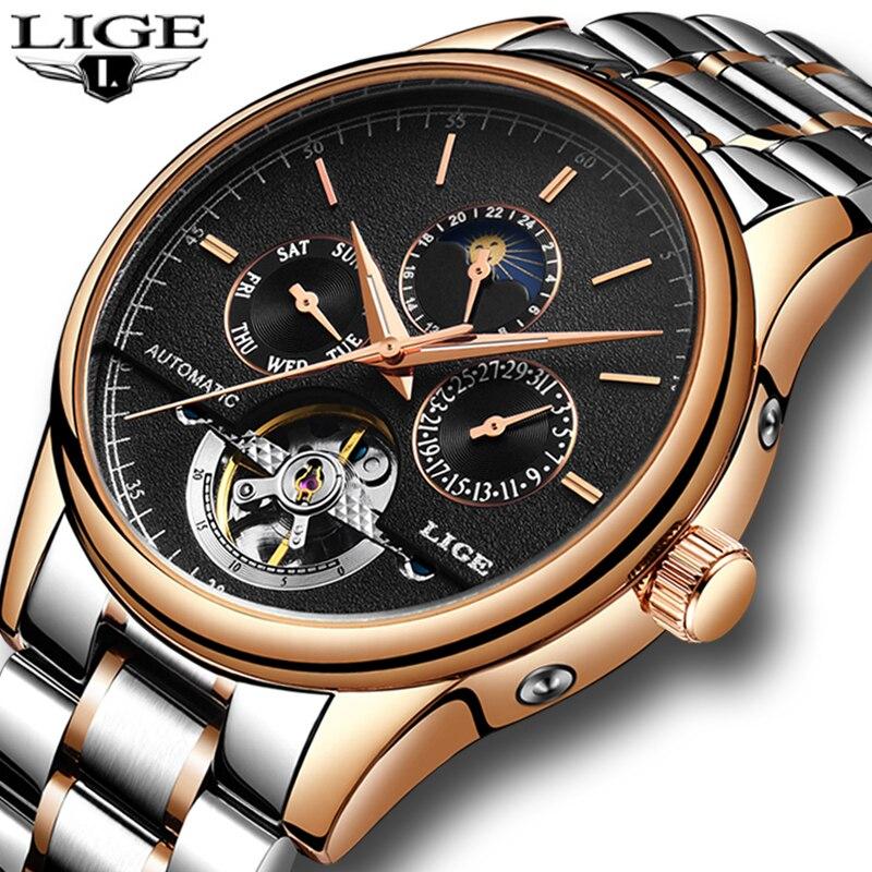 Relogio Masculino 2018 nouvelles montres homme LIGE Top marque de luxe hommes montre mécanique Tourbillon hommes de mode montre d'affaires + boîte