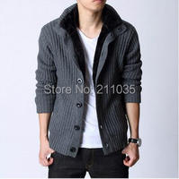 Men Autumn Winter Hot Sale Cardigans Plus Velvet Full Sleeve Warm Waistcoat Male Casual Thicken Knit Slim Sweaters A04 235