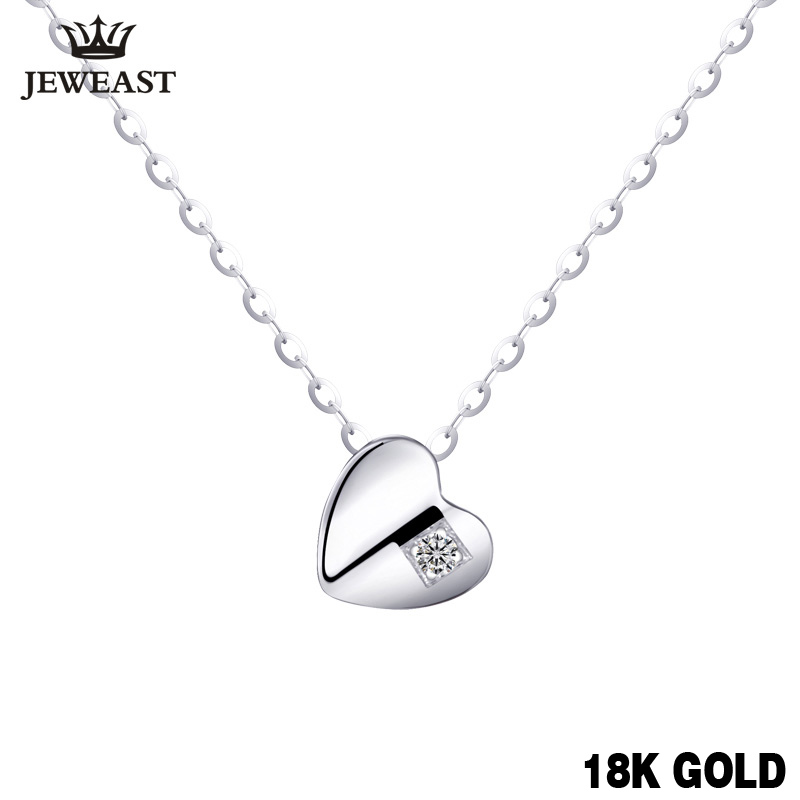White 18k Gold Diamond necklace Pendant girl lovey Chain charm Valentine's Day cut Gift Genuine trendy party good new Custom yoursfs heart necklace for mother s day with round austria crystal gift 18k white gold plated
