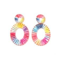 1Pair Stylish Oval Hand-woven Earring Women Ladies Handmade Weaving Hollow Round Hanging Earrings Boho Ethnic Jewelry