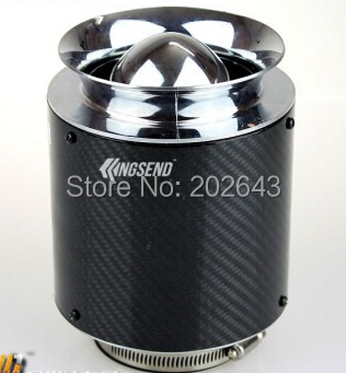 23043-high flow carbon cr air filter with real carbon and 76mm neck 15cm carbon height universal for car intake pipe turbo