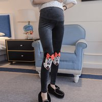 Pregnant women's pants gold velvet stomach lift pants new out wearing Mickey butterfly dish stomach lift leggings trousers