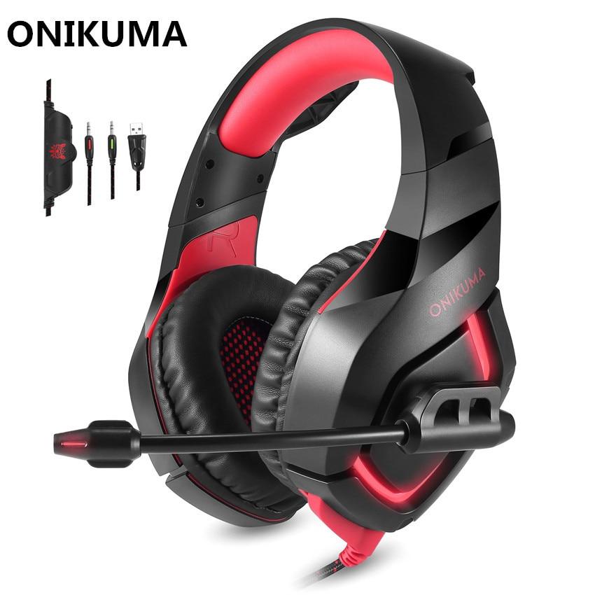 ONIKUMA K1 Wired Gaming Cuffie con Microfono Mic per Computer Migliore PC Gamer Headset Gioco Casque Heavy Bass Auricolare Stereo