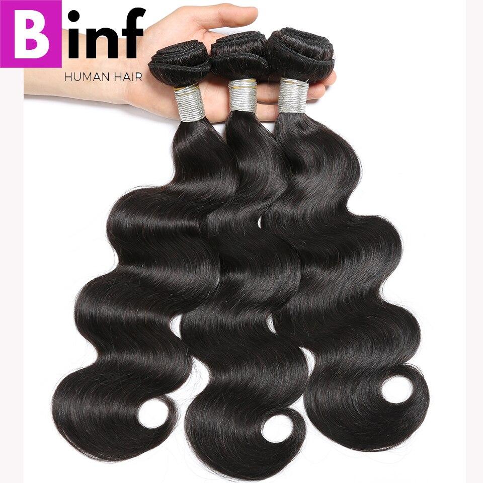 BINF Hair Peruvian Body Wave 3 Bundles Hair Weave 100% Human Hair Extension Natural Color 1B No Tangle Remy Hair Weave Bundles