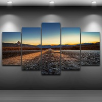 Highway Sky Framed Printed Wall Art Picture Artistic Print Drawing On Canvas Spray Oil Painting Decoration
