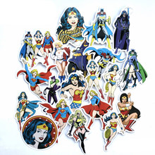 20pcs/lot Wonder Woman Stickers Supergirl Catwoman Sticker For Car Laptop Pad Skateboard Motorcycle Decal Toy For Gift(China)