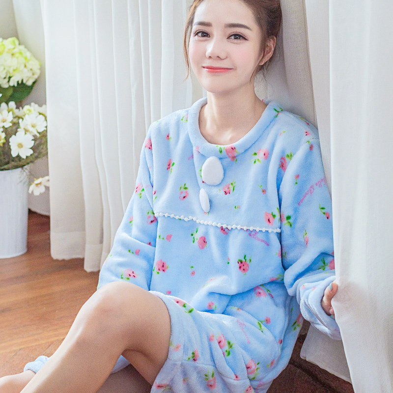 ms home furnishing autumn clothes girls flannel nightgown long sleeve head bath skirt cute princess - Flannel Nightgowns
