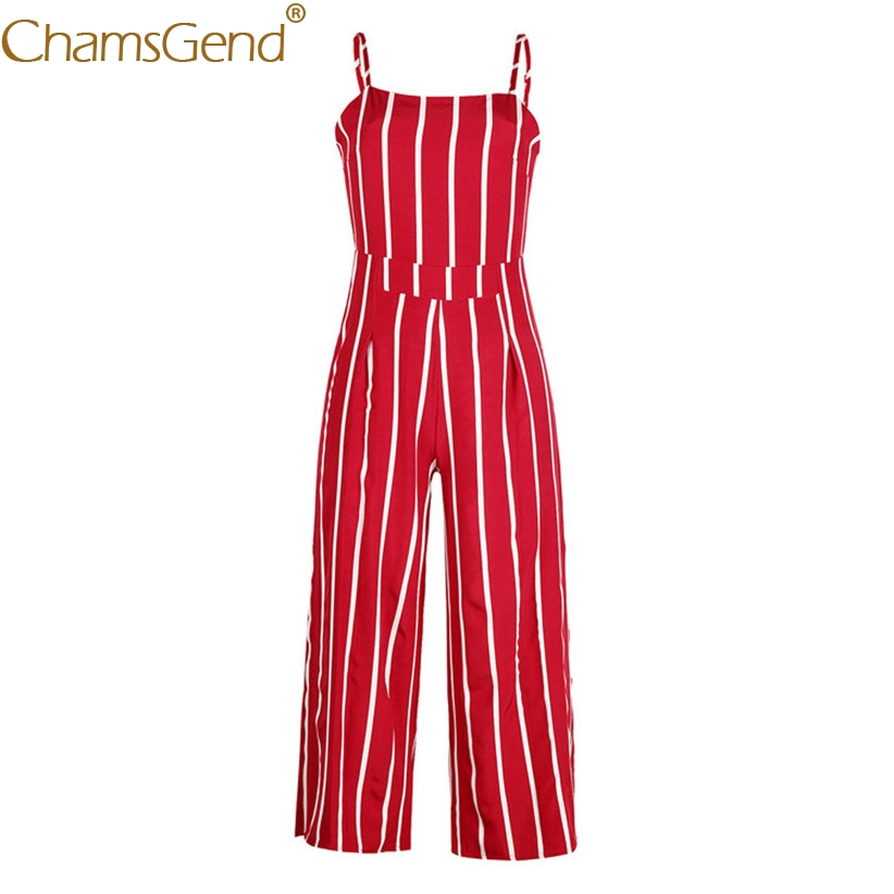 1a6d2312e7a Free Shipping Women Fashion Vintage Sleeveless Strappy Striped Jumpsuit  Wide Leg Pants Trousers Red Rompers 80509 Drop Shipping-in Jumpsuits from  Women s ...