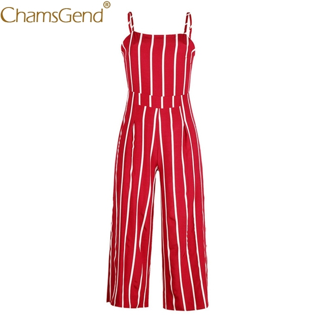 Free Shipping Women Fashion Vintage Sleeveless Strappy Striped Jumpsuit Wide Leg Pants Trousers Red Rompers 80509 Drop Shipping