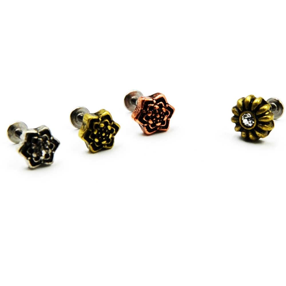1 Pieces Brass Tribal Vintage Mandala Labret Earring Ear Cartilage Ear Tragus Lip Ring Piercing Jewelry