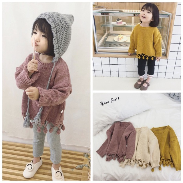 286cfd944 Children Sweaters O neck Tassel Girls Knitted Sweater Autumn Winter ...