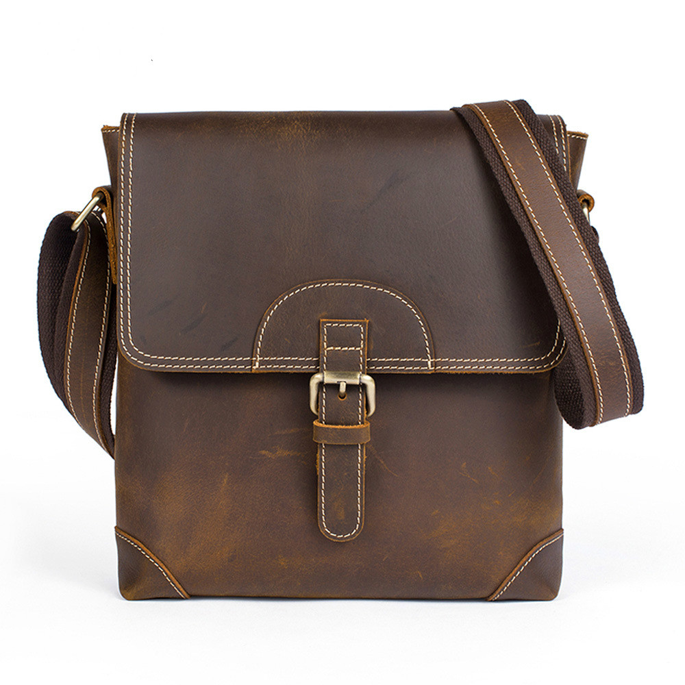 Vintage Crazy Horse Genuine Leather Casual Men's Bag Men Crossbody Shoulder Bag Male Cowhide Messenger Bags famous brand vintage casual crazy cowhide leather messenger bag men satchel crossbody shoulder business briefcase bag w0960