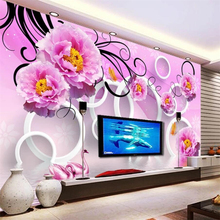 beibehang Custom wallpaper 3d mural water flower reflection 3D