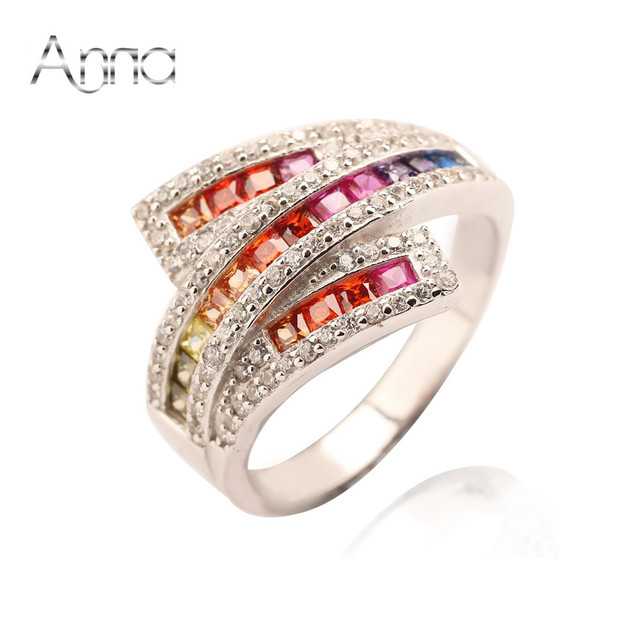A&N Rainbow Cubic Zirconia Fashion 925-Sterling-Silver Rings For Women Inlay With Austria Zircon Unique Design Silver Rings