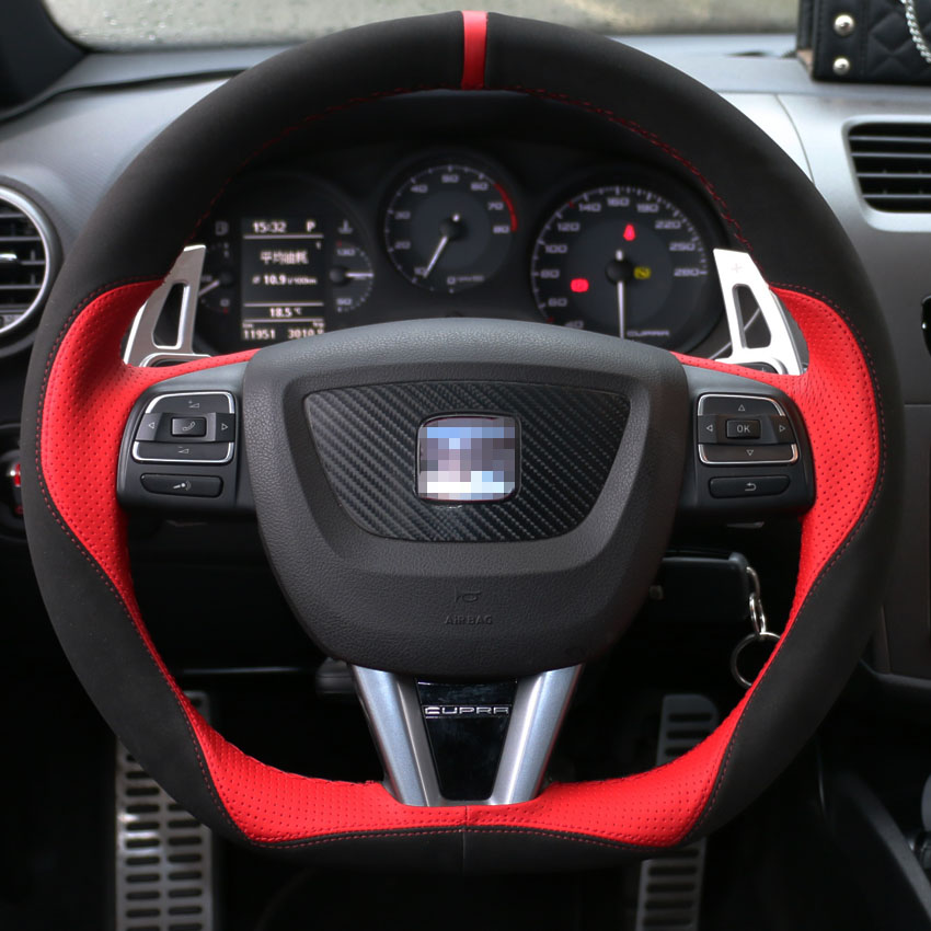 Black Suede Red Leather Red Marker Car Steering Wheel