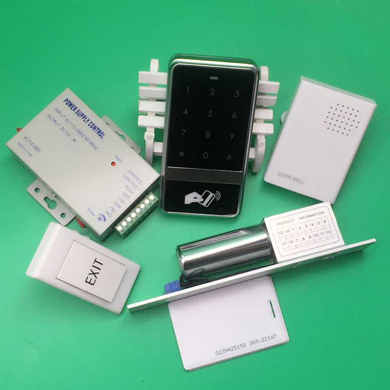 RFID Access Control 125KHZ Touch Keypad Door Access Control System+10 Piece 125KHZ EM Card+Electric Lock+Power Supply+Door Bell standalone rfid card access control system touch waterproof keypad door access control reader em card access controller