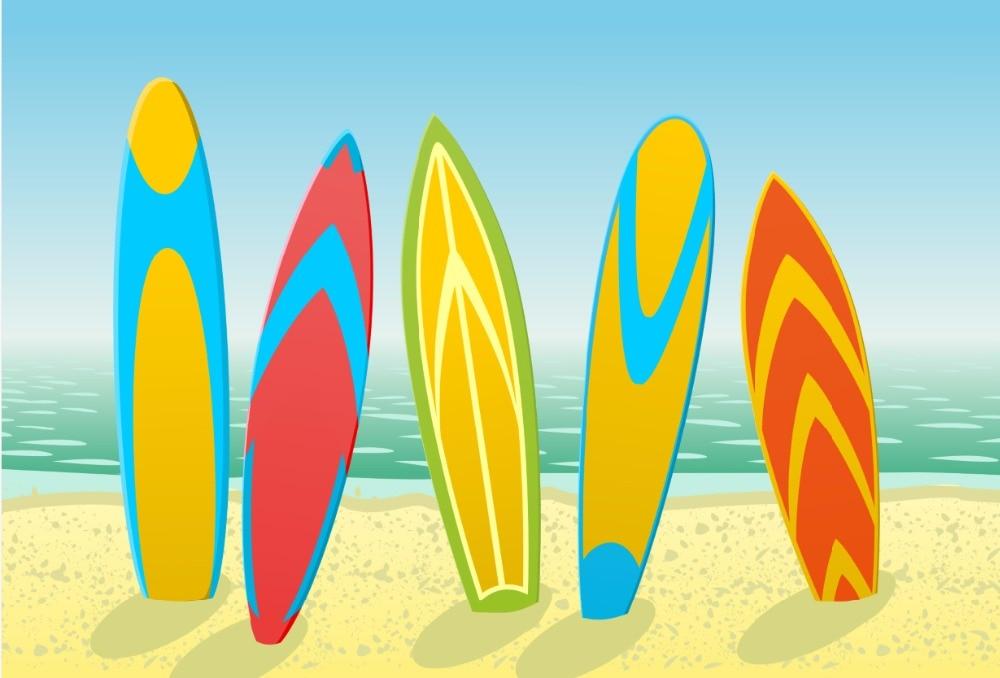 7x5ftcartoon Ocean Sea Sand Beach Surf Surfing Board