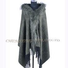 CX-B-P-64 женские зимние модные мех монгольского ягнёнка шаль пашмины с мехом