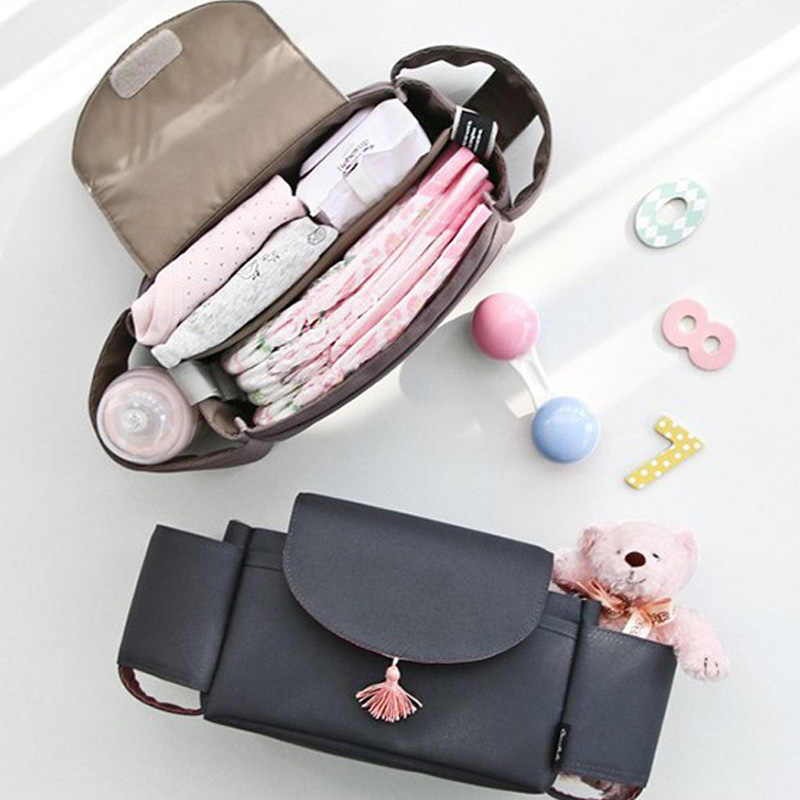 Baby Stroller Bag  Large Capacity Baby Diaper Bag Striped Washable Baby Mommy Bags Hanging Carriage Diaper Bag Organizer
