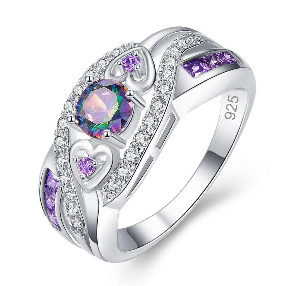 Dropshipping Fashion Women 925 Jewelry Austrian Oval Heart Cut Design Multicolor & Purple White CZ Silver 925 Ring Size 6 7 8 9