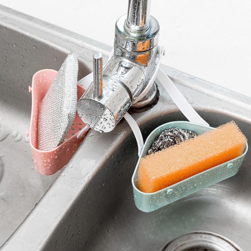 Kitchen Sink Sponge Holder Draining Rack Sink Kitchen Hanging Drain Storage Tools Storage Shelf Sink Holder Drain Basket