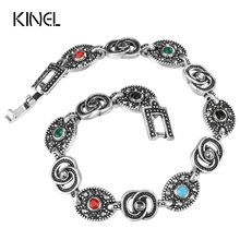 Kinel Brand Charm Vintage Cuff Bracelets & Bangles For Women Bohemia Multicolor Resin 2017 Fashion Jewelry Wholesale(China)