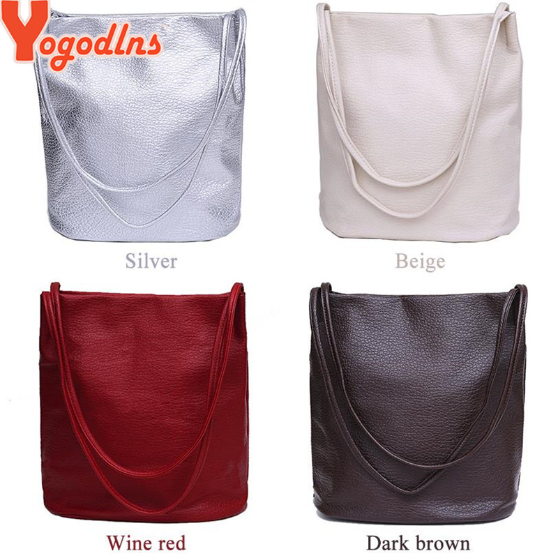 efd8b90064 Yogodlns Women Leather Handbags Black Bucket Shoulder Bags Ladies Cross  Body Bags Large Capacity Ladies Shopping Bag Bolsa-in Shoulder Bags from  Luggage ...