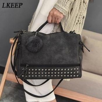 Vintage Nubuck Leather Ladies Handbags Rivet Larger Women Bags Hair Ball Shoulder Bag Motorcycle Messenger Bag Top-Handle Bag 2