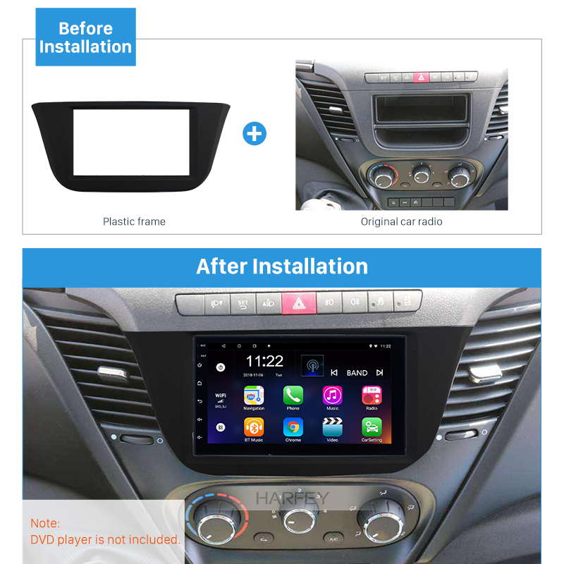 Harfey <font><b>2Din</b></font> <font><b>Car</b></font> Frame <font><b>Autoradio</b></font> Stereo Fascia Bezel Kit for 2014+ IVECO DAILY OEM Frame in Dashboard Trim Plate Install Panel image