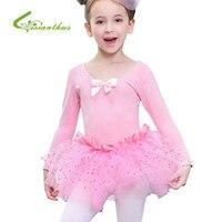 Kids Cotton Professional Ballet Tutu Dress Gymnastics Leotards For Girl Dancewear Long Sleeve Girls Dance Dress