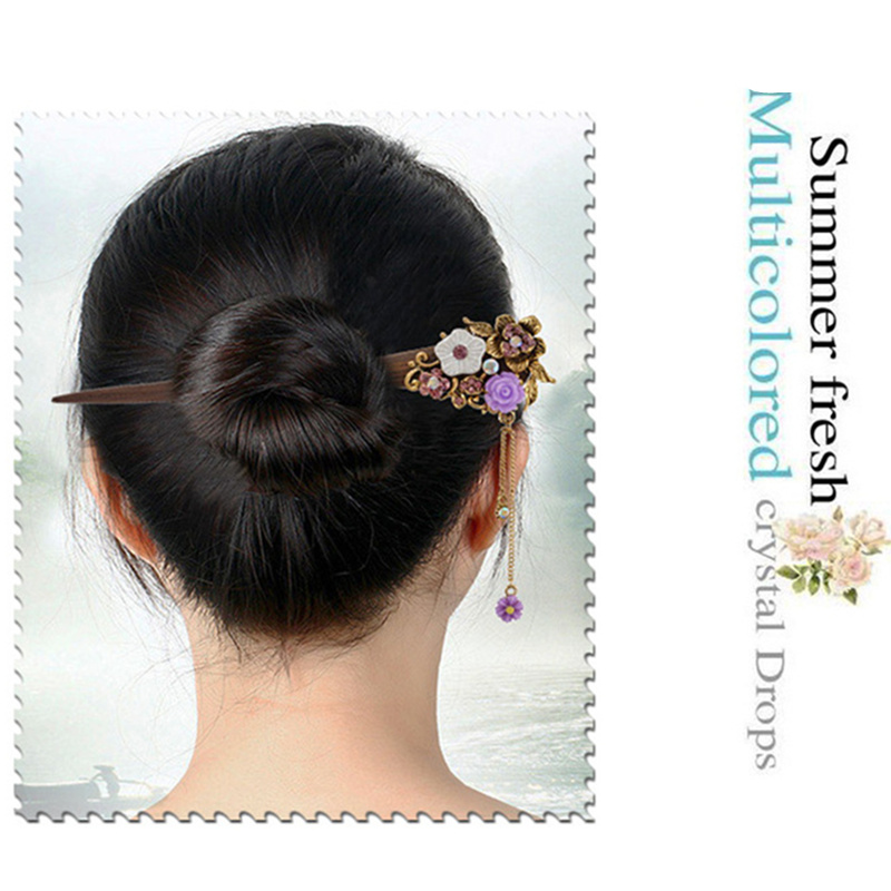 2018 Retro national winds Leaf shape natural Phoebe zhennan Zircon Hair sticks Chinese style Fashion jewelry For women nmfz-014