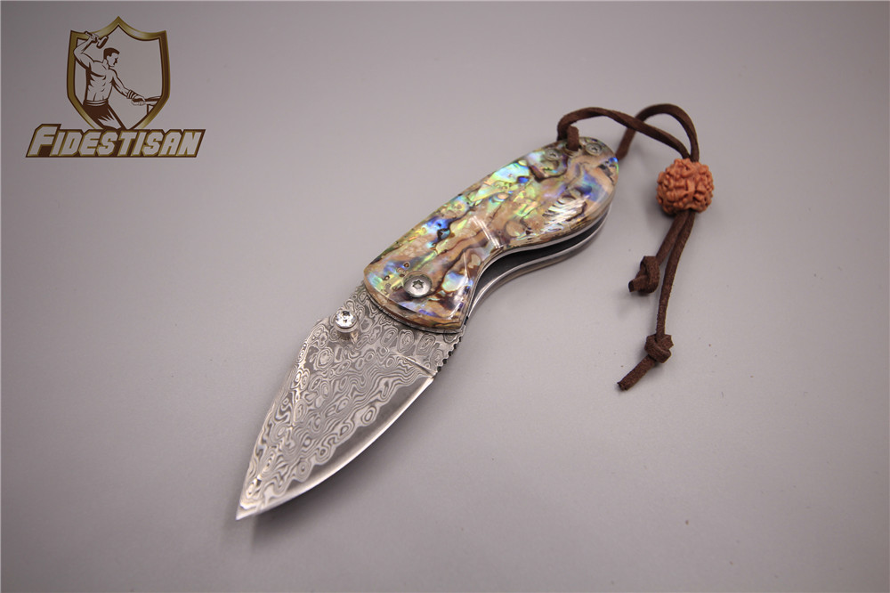 Small Karambit Damascus steel folding knife shell handle Exquisite pocket knife give away gifts collection culture Send his girl