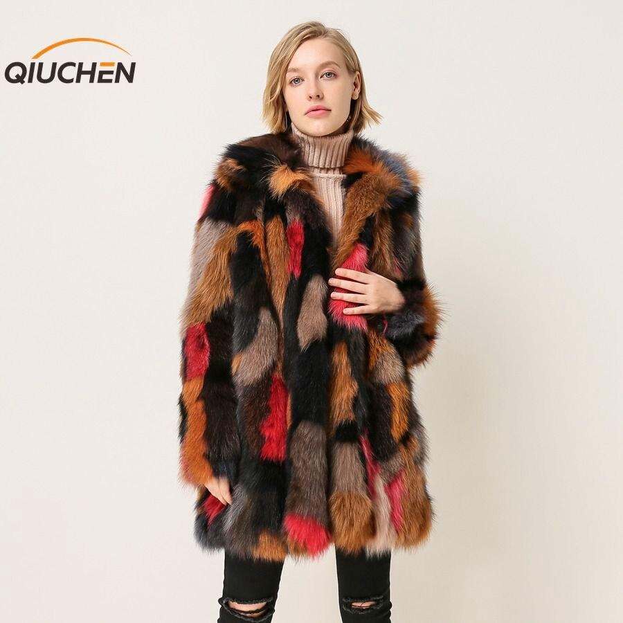 QIUCHEN PJ1872 2018 Nuovo arrivo di trasporto libero di inverno delle donne reale della pelliccia di fox del cappotto del rivestimento colorato di spessore caldo