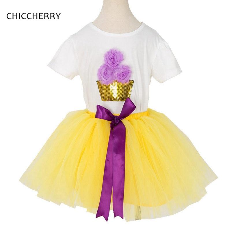 Sequins Cupcake Tshirt Yellow Lace Tutu Skirts Girls Clothes Sets Children Clothing Roupas Infantis Menina, 2-12 Years