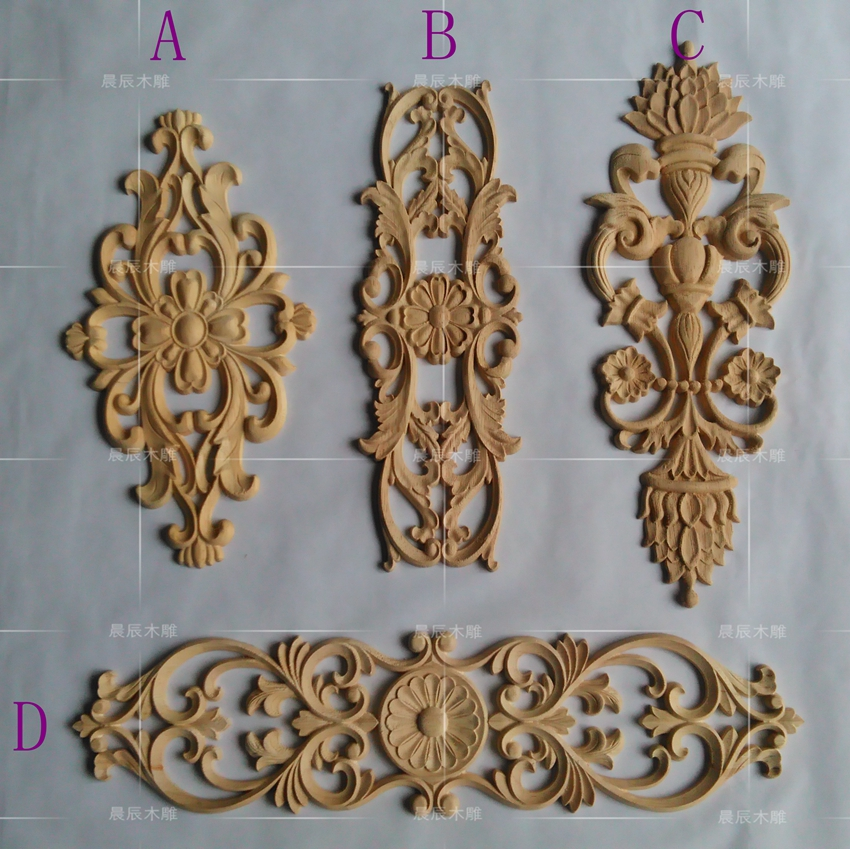 European style Furniture Applique Wooden Carved Corner Flower inner-room Door Decoration decorative flower(A758) flower applique grab bag