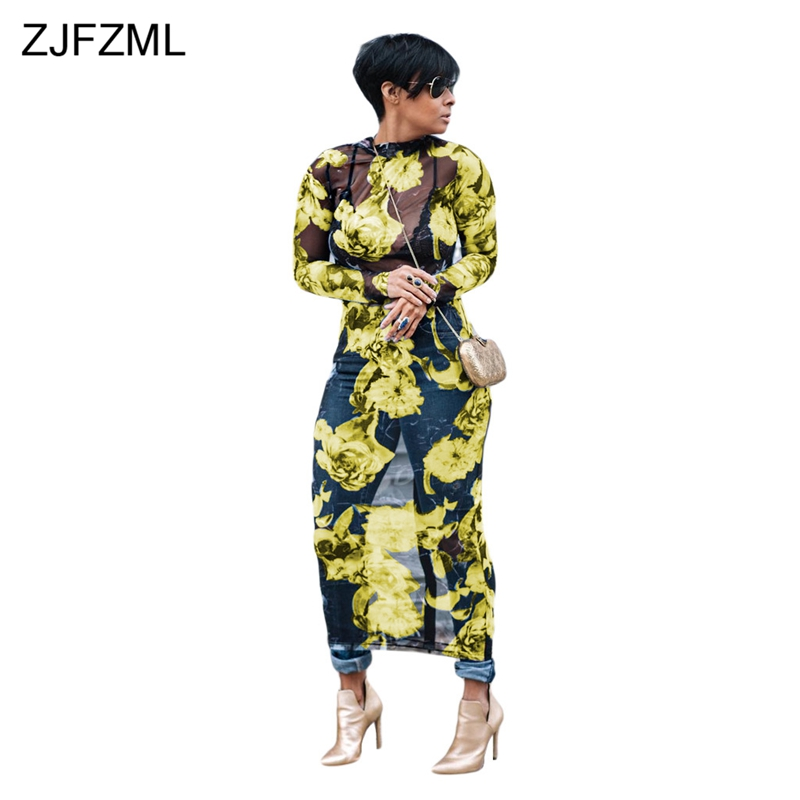 ZJFZML Plus Size Floral Mesh Women Maxi Dress Long Sleeve Vestidos See Through Club Sexy Dress Summer Party Long Beach Dresses