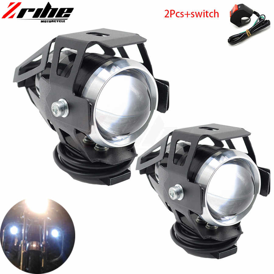 for yamah bmw honda ktm ducati kawasaki 2PCS 125W motorcycle headlights auxiliary lamp U5 led spotlight 12V DRL spot head lights