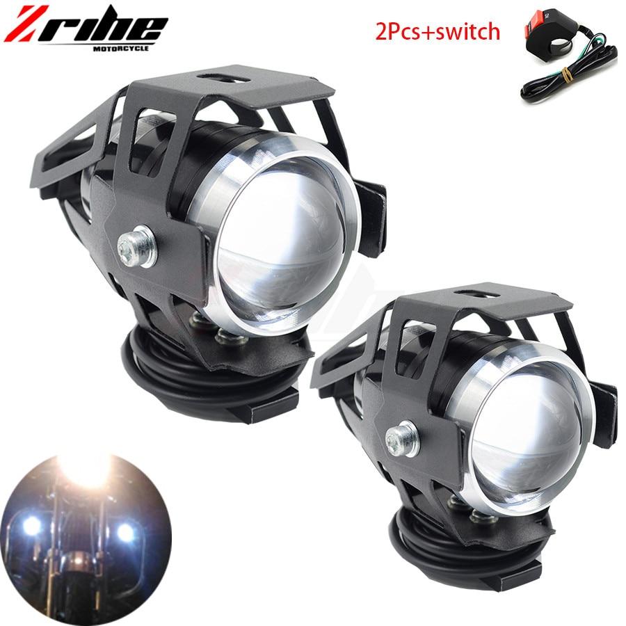 For Yamah Bmw Honda Ktm Ducati Kawasaki 2PCS 125W Motorcycle Headlights Auxiliary Lamp U5 Led Spotlight 12V DRL Spot Head Lights