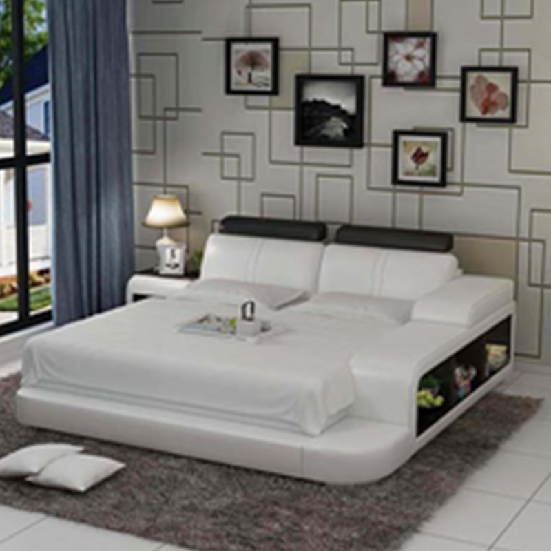 Chinese Leather Bed With Three Storage Luxury Royal Bedroom Furniture Set