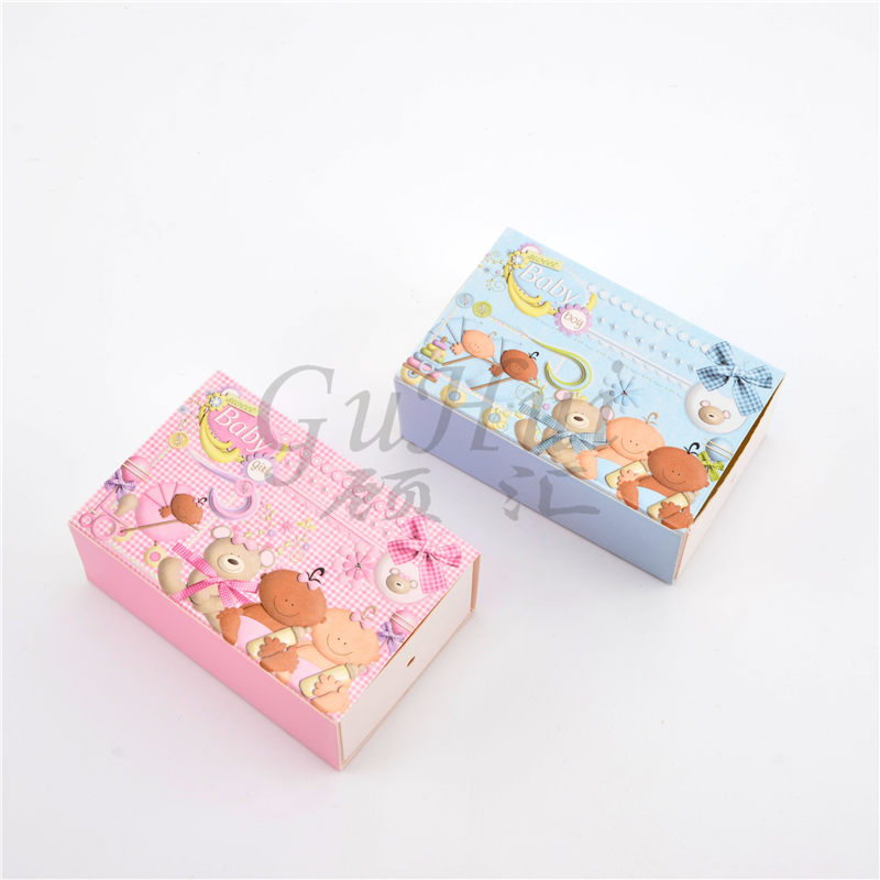 Baby Shower Party Gift Box Baby Boy Girl Trolley Pink Biscuit Candy Box Free Shipping L8.5*w8*h4.5 Event & Party cm