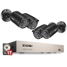 Zosi 8-канальный видеонаблюдения система 4 шт. 1280tvl открытый всепогодный камеры безопасности 8-канальный 720 P dvr день/ночь diy kit система видеонаблюдения