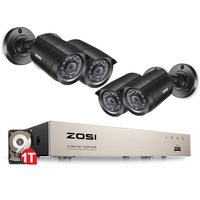 Zosi 8 канальный видеонаблюдения система 4 шт. 1280tvl открытый всепогодный камеры безопасности 8 канальный 720 P dvr день/ночь diy kit система видеонабл