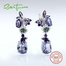 Серебряные Серьги для Женщин Фиолетовый Бабочка Зеленый Цветок Стерлингового Серебра 925 Элегантные Дамы Серьги