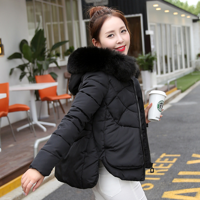 2017 NEW Winter Cotton Padded Women Fur Collar Coat Star Wadded Solid Jacket Warm Outerwear Hooded cloak type Parkas winter jacket women cotton padded thickening warm coat women s wadded jackets fur hood snow wear outerwear coats and parkas
