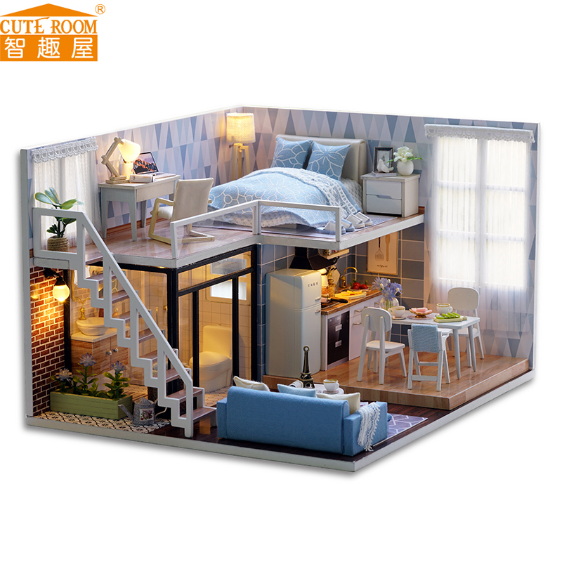 Assemble DIY Doll House Toy Wooden Miniatura Doll Houses Miniature Dollhouse toys With Furniture LED Lights Birthday Gift L023 large size diy wooden miniatura doll house with light music furniture handmade 3d miniature dollhouse toys wedding gits