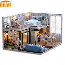 Montera DIY Doll House Toy Trä Miniatura Doll House Miniatyr Dollhouse Leksaker Med Möbler LED Lampor Födelsedag Present L023