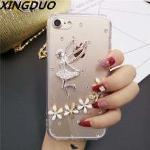 XINGDUO Luxury Bling Crystal Diamond angel Clear Back Rhinestone Phone flower Case Cover For iphone7 8 6 6s plus X XS XR MAX