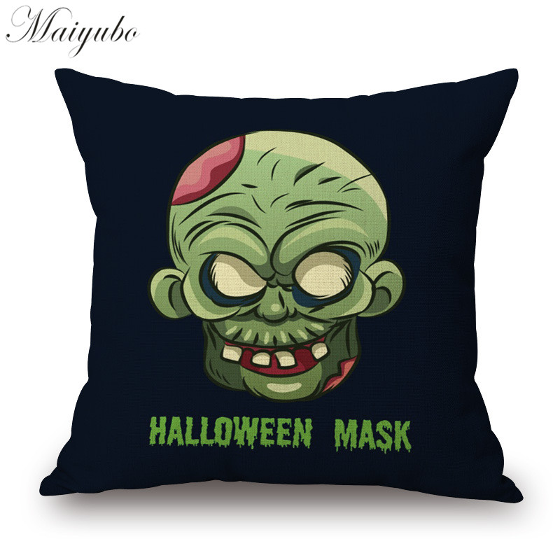 Maiyubo Cotton Linen Halloween Cushion Cover Terror Panic Spoof Gifts Waist Pillow Cover Decorative Chair&Sofa Pillow Case PC265