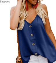 Summer Sexy Sling Vest Tops V-neck Buttoned Sleeveless Vest Top Womens Loose Casual Clothes Chiffon Blouse button decor blouse