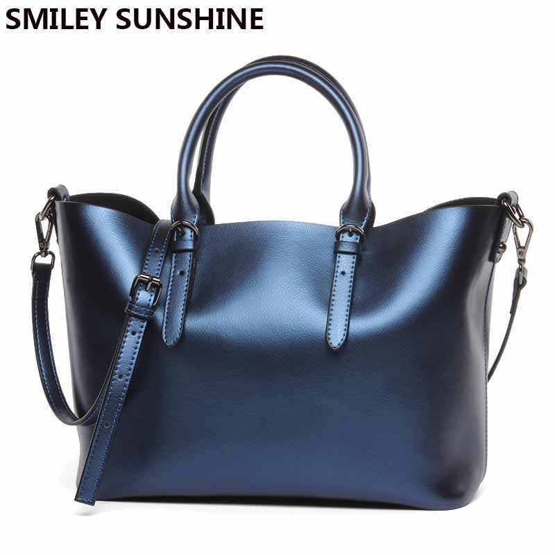 High Quality Women Leather Handbags Silver Female Genuine Leather Messenger  Shoulder Bags Designer Big Ladies Hand c3dd055f3a365